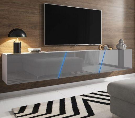 """TV Lowboard """"Space"""" in grau Hochglanz Lack TV Unterteil hängend / stehend XXL-Board 240 cm mit LED"""
