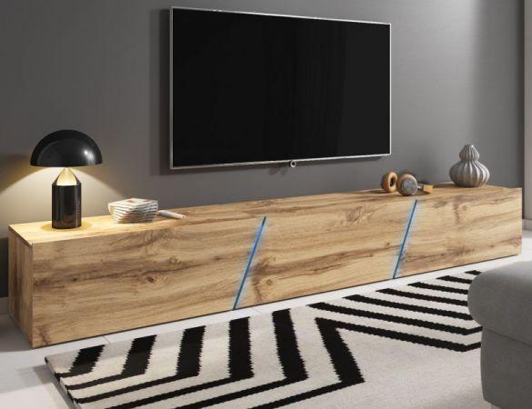 """TV-Lowboard """"Space"""" in Wotan Eiche Dekor TV Unterteil hängend / stehend XXL-Board 240 cm mit LED"""