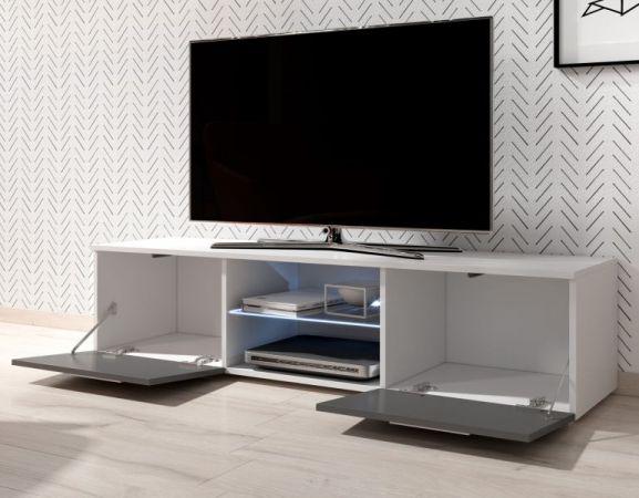 "TV Lowboard ""Earth"" in weiß Hochglanz mit LED Beleuchtung 140 x 36 cm"