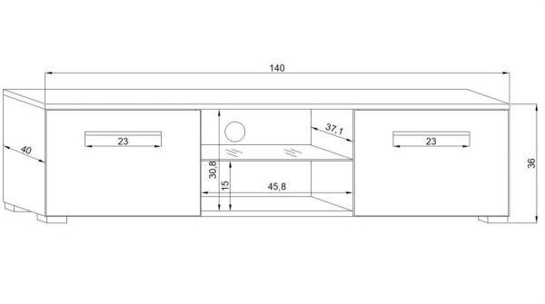 "TV Lowboard ""Earth"" in schwarz Hochglanz mit LED Beleuchtung 140 x 36 cm"