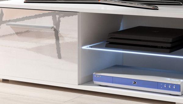 "TV Lowboard ""Earth"" in weiß Hochglanz mit LED Beleuchtung 100 x 36 cm"