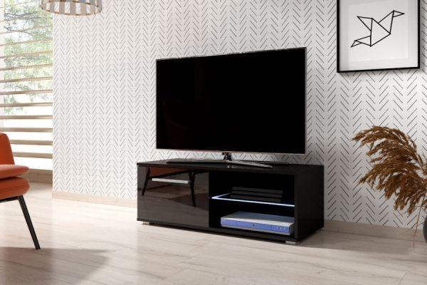 "TV Lowboard ""Earth"" in schwarz Hochglanz mit LED Beleuchtung 100 x 36 cm"