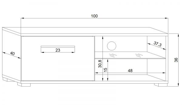 "TV Lowboard ""Earth"" in grau Hochglanz und weiß mit LED Beleuchtung 100 x 36 cm"