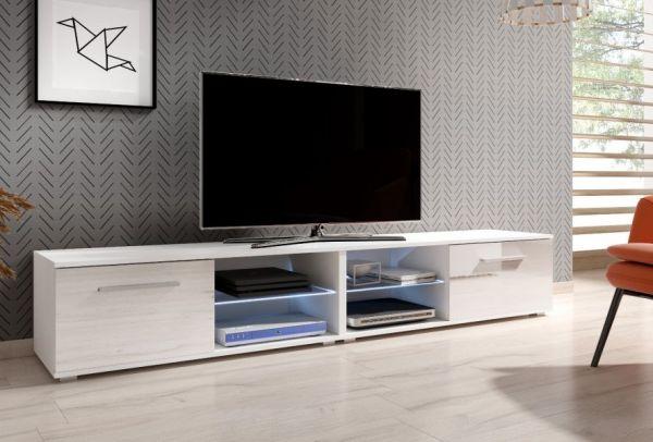 "TV Lowboard ""Earth"" in weiß Hochglanz mit LED Beleuchtung 200 x 36 cm"