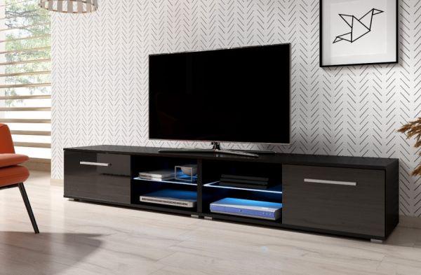 "TV Lowboard ""Earth"" in schwarz Hochglanz mit LED Beleuchtung 200 x 36 cm"