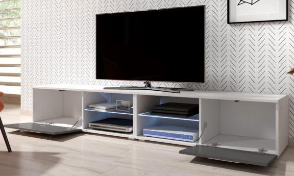 "TV Lowboard ""Earth"" in grau Hochglanz und weiß mit LED Beleuchtung 200 x 36 cm"