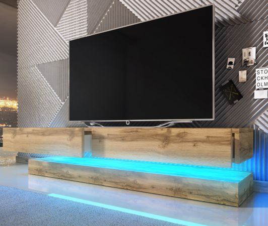 """TV Lowboard """"Bird"""" in WotanEiche Dekor 2-teilig 140 x 45 cm hängend mit Beleuchtung"""