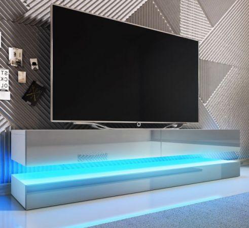 """TV Lowboard """"Bird"""" in grau Hochglanz 2-teilig 140 x 45 cm hängend mit Beleuchtung"""