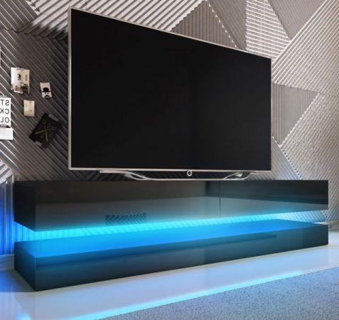 """TV Lowboard """"Bird"""" in schwarz Hochglanz 2-teilig 140 x 45 cm hängend mit Beleuchtung"""