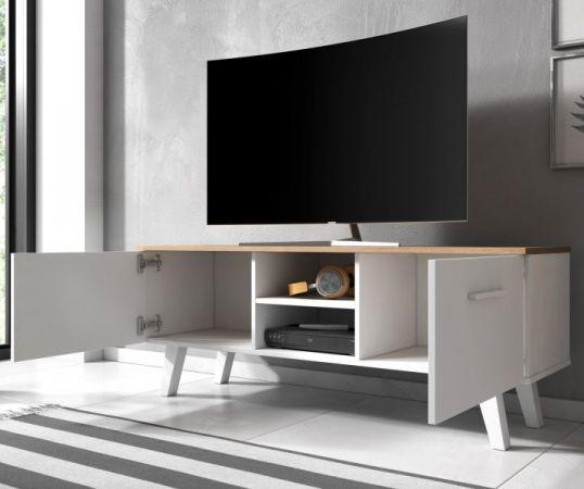 """TV Lowboard """"Jenrik"""" Eiche Gold und weiß im skandinavischen Stil 140 x 52 cm"""