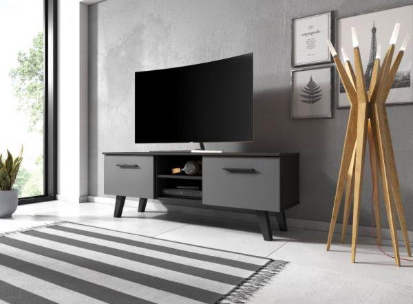 """TV Lowboard """"Jenrik"""" grau und schwarz matt im skandinavischen Stil 140 x 52 cm"""