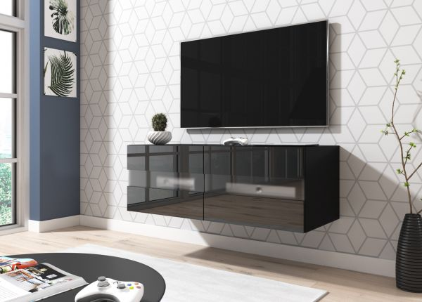 """TV-Lowboard """"Rial"""" in schwarz Hochglanz hängend 100 x 35 cm mit LED Beleuchtung"""