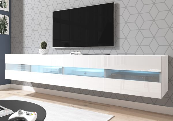 """TV-Lowboard """"Rial"""" in weiß Hochglanz hängend 200 x 35 cm mit LED Beleuchtung"""