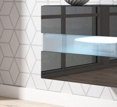 """TV-Lowboard """"Rial"""" in schwarz Hochglanz hängend 200 x 35 cm mit LED Beleuchtung"""