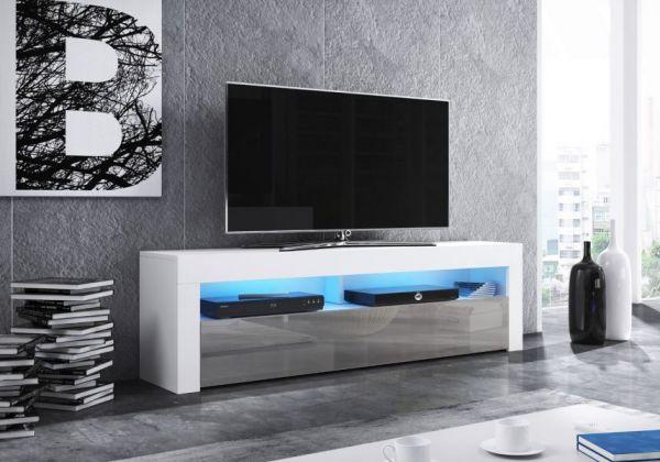 """TV-Lowboard """"Live"""" in grau Hochglanz und weiß 160 x 50 cm mit LED Beleuchtung"""
