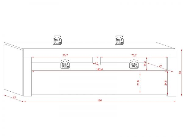 "TV-Lowboard ""Live"" in weiß Hochglanz 160 x 50 cm mit LED Beleuchtung"