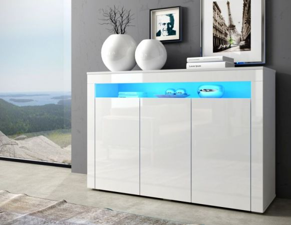 """Sideboard """"Sally"""" in weiß Hochglanz inkl. LED-Beleuchtung - Kommode 130 x 88 cm"""