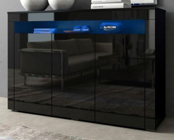 "Sideboard ""Sally"" in schwarz Hochglanz inkl. LED-Beleuchtung - Kommode 130 x 88 cm"