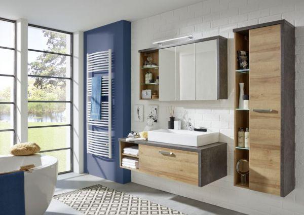 Badkombination Bay in Eiche Riviera mit Beton grau Badmöbel Set 2-teilig optional mit Waschbecken 123 x 180 cm