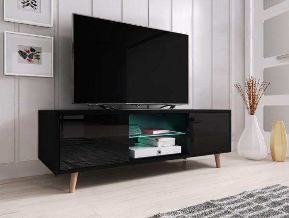 """TV-Lowboard """"Norway-1"""" in schwarz Hochglanz - Fernsehtisch skandinavisch 140 x 45 cm"""