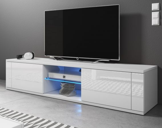 TV-Lowboard Chart in Hochglanz weiß TV-Unterteil 140 x 30 cm Fernsehtisch