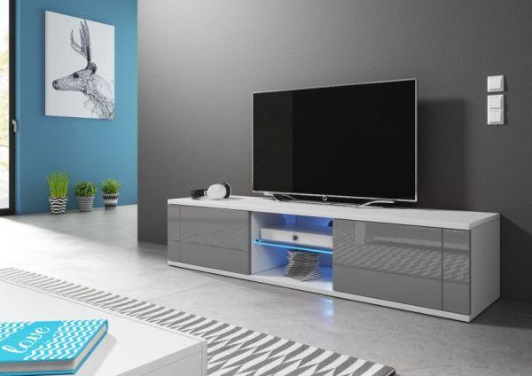"""TV-Lowboard """"Chart"""" in grau Hochglanz und weiß - Fernsehtisch 140 x 30 cm"""