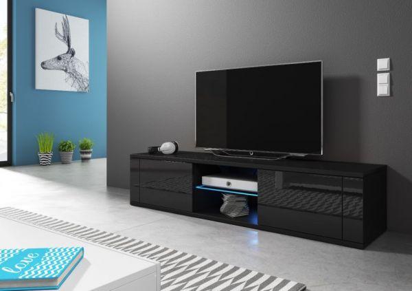"""TV-Lowboard """"Chart"""" in schwarz Hochglanz - Fernsehtisch 140 x 30 cm"""
