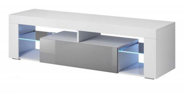 """TV Lowboard """"Mount"""" in grau Hochglanz und weiß 160 x 50 cm"""