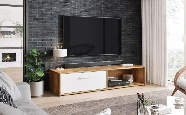 TV-Lowboard Start in Roteiche / Eiche und weiß TV-Unterteil 140 x 29 cm TV Board