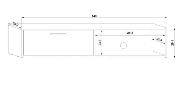 TV-Lowboard Start in weiß TV-Unterteil 140 x 29 cm TV Board