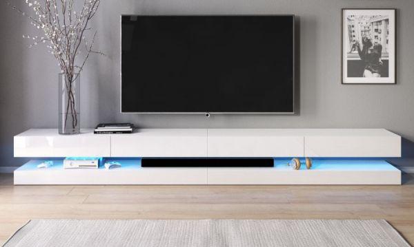 """TV-Lowboard """"Bird"""" in Hochglanz weiß TV-Unterteil 4-teilig XXL-Board 280 cm hängend inkl. Beleuchtung"""