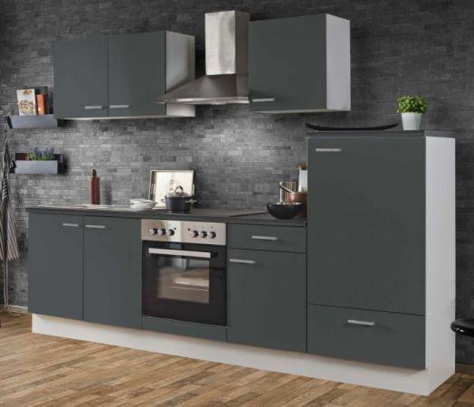 "Küchenblock Einbauküche ""White Classic"" Graphit grau inkl. E-Geräte 270 cm"
