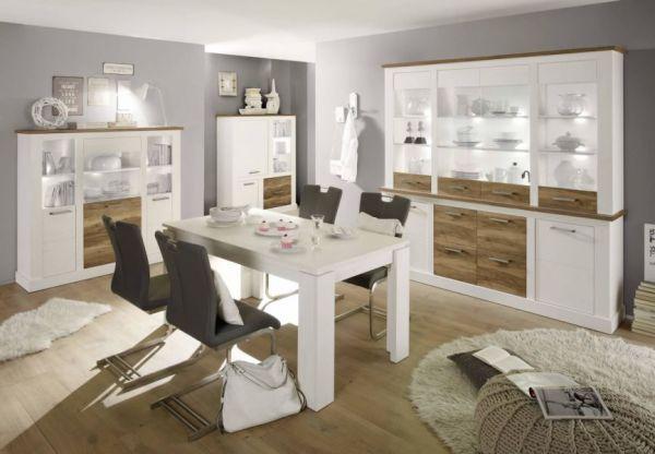 """Wohnzimmer: Anrichte """"Toronto"""" Pinie weiß, Nussbaum Satin Elemente Buffet (210x210 cm)"""