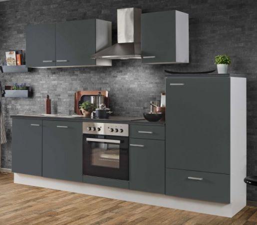 """Küchenblock Einbauküche """"White Classic"""" Graphit grau inkl. E-Geräte und Geschirrspüler 280 cm"""