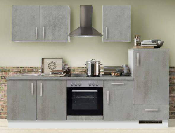 """Küchenblock Einbauküche """"White Premium"""" Beton-Optik inkl. E-Geräte 270 cm"""
