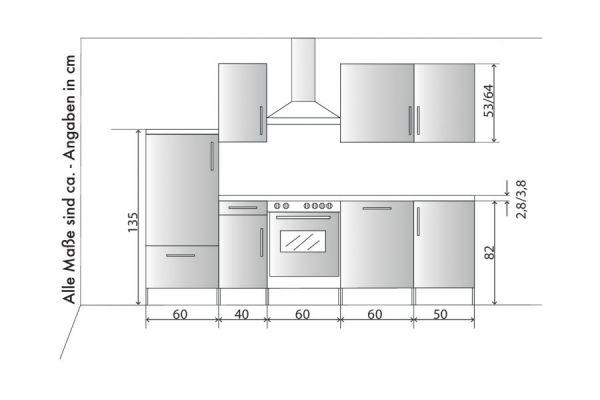 """Küchenblock Einbauküche """"White Premium"""" Schiefer grau inkl. E-Geräte und Geschirrspüler 270 cm"""