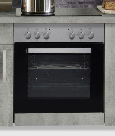 """Küchenblock Einbauküche """"White Premium"""" Beton-Optik inkl. E-Geräte und Geschirrspüler 270 cm"""