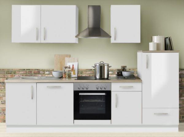 """Küchenblock Einbauküche """"White Premium"""" weiß Hochglanz Lack inkl. E-Geräte und Geschirrspüler 280 cm"""