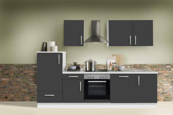 """Küchenblock Einbauküche """"White Premium"""" Schiefer grau inkl. E-Geräte und Geschirrspüler 280 cm"""