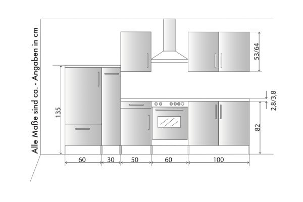 """Küchenblock Einbauküche """"White Premium"""" Schiefer grau inkl. E-Geräte und Apothekerschrank 300 cm"""
