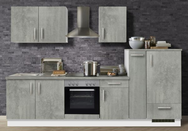 "Küchenblock Einbauküche ""White Premium"" Beton-Optik inkl. E-Geräte und Apothekerschrank 300 cm"