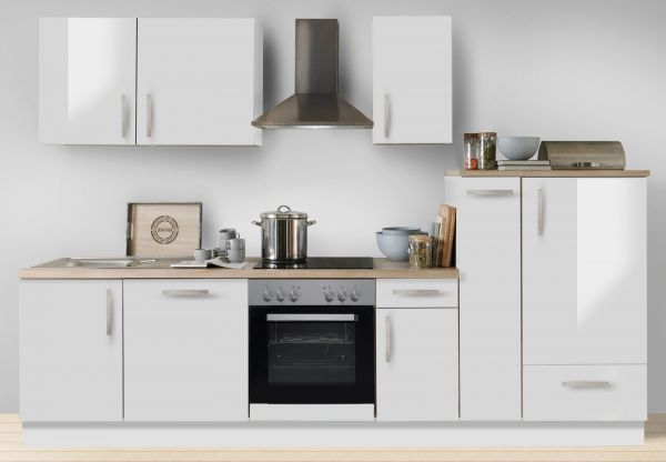 """Küchenblock Einbauküche """"White Premium"""" weiß Hochglanz Lack inkl. E-Geräte + Geschirrspüler und Apothekerschrank 300 cm"""