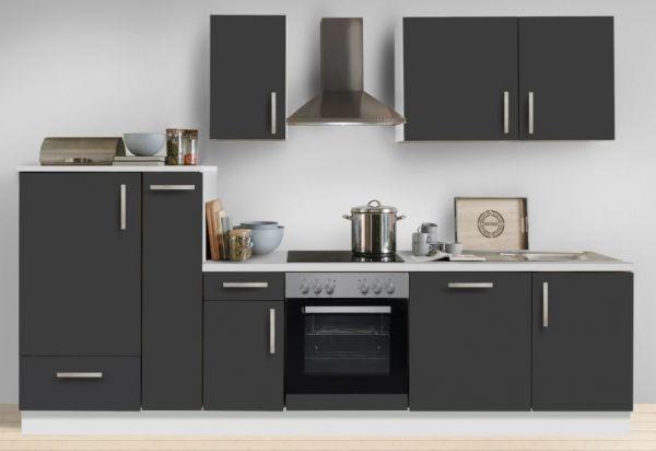"""Küchenblock Einbauküche """"White Premium"""" Schiefer grau inkl. E-Geräte + Geschirrspüler und Apothekerschrank 300 cm"""