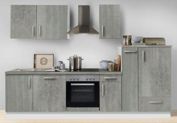 """Küchenblock Einbauküche """"White Premium"""" Beton-Optik inkl. E-Geräte + Geschirrspüler und Apothekerschrank 300 cm"""