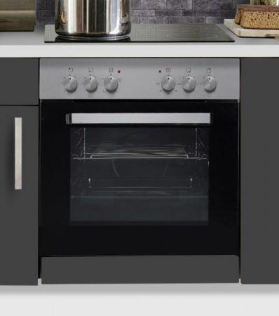 """Küchenblock Einbauküche """"White Premium"""" Schiefer grau inkl. E-Geräte + Geschirrspüler und Apothekerschrank 310 cm"""