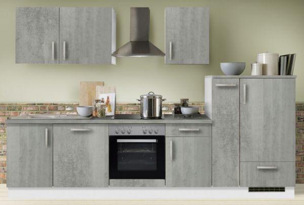 """Küchenblock Einbauküche """"White Premium"""" Beton-Optik inkl. E-Geräte + Geschirrspüler und Apothekerschrank 310 cm"""