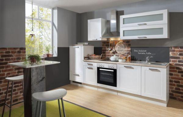 """Küchenblock Einbauküche """"White Premium"""" weiß matt Landhaus inkl. E-Geräte + Geschirrspüler satiniertes Glas 270 cm"""