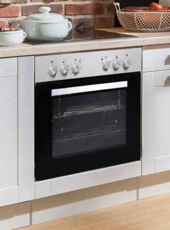 """Küchenblock Einbauküche """"White Premium"""" weiß matt Landhaus inkl. E-Geräte + Geschirrspüler Apothekerschrank satiniertes Glas 300 cm"""
