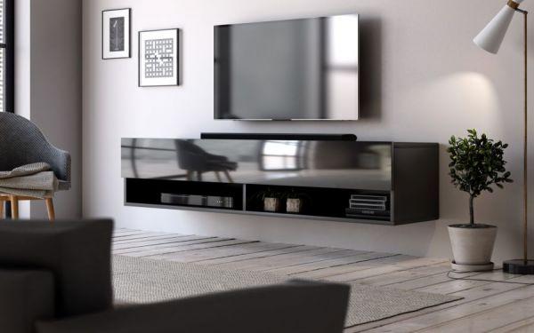 """TV Lowboard """"Epsom"""" in schwarz Hochglanz hängend 140 x 30 cm"""