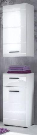 Badezimmer Hängeschrank Skin in Hochglanz weiß Badmöbel 30 x 77 cm Badschrank